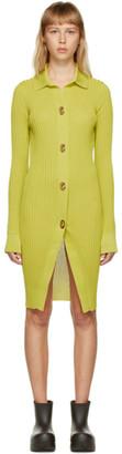 Bottega Veneta Green Silk Rib Shirt Dress