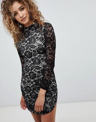 AX Paris Long Sleve Contrast Lace Bodycon Dress-Black