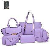 Donaword Women Muti-purpose 6 Pieces Bag in Bag Purse PUeather Shouder Handbags Cutch Waet Set Back