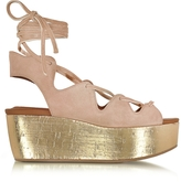 See by Chloe Liana Powder Pink Suede Lace-up Wedge Sandal