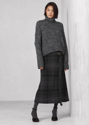 Ralph Lauren Buckled Cashmere Wrap Sweater Skirt