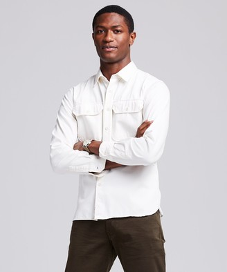 Todd Snyder Italian Two Pocket Utility Long Sleeve Shirt in Ivory