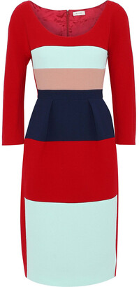 DELPOZO Color-block Wool-crepe Dress