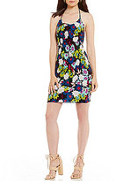 GUESS Poppy Printed Smocked Halter Neck Sheath Dress
