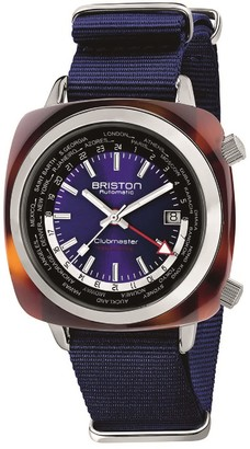 Briston Clubmaster Traveler Worldtime Gmt Automatic, Tortoise Shell, Navy Blue Dial LIMITED EDITION