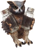 ATL Mysterious Nocturnal Owl Bird Seasoning Salt Pepper Shakers Holder Figurine With Glass Shakers Statue Home Decor Rustic Forest Lovers Woodland Creatures
