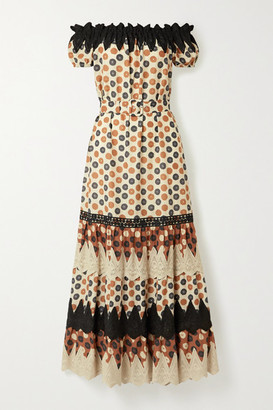 Miguelina Bhati Off-the-shoulder Crochet-trimmed Printed Cotton-voile Maxi Dress - Brown
