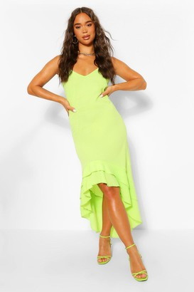 boohoo Strappy Ruffle Dip Hem Maxi Dress