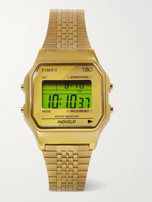 Timex T80 34mm Gold-Tone Digital Watch