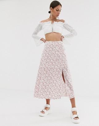 Résumé Resume Olive floral midi skirt with slit-White