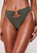 Missguided Khaki Rib Ring Detail High Leg Bikini Bottoms