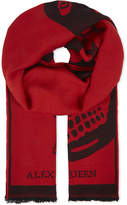 Alexander McQueen Mens Red Printed Luxurious Wool Jacquard Scarf