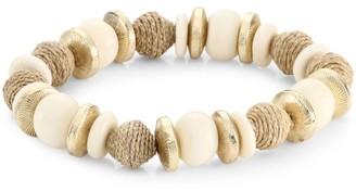 Akola Bone & Raffia Stretch Bracelet