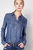 7 For All Mankind 2 Pocket Slim Boyfriend Shirt In Castle Lake Blue