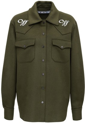 Off-White Logo Embroidered Military Boxy Jacket