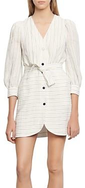 Sandro Misa Striped Mini Shirt Dress