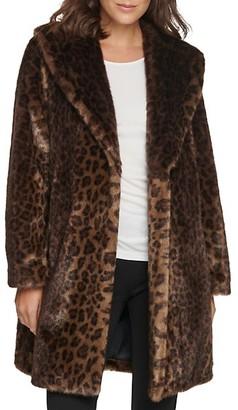 Donna Karan Shawl-Collar Leopard Coat