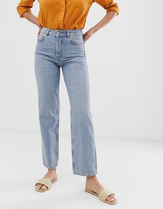 Selected straight mid blue jeans
