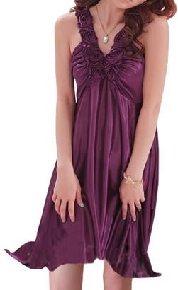 Sidiou Group Sexy Nightdress Summer V-Collar Imitation Silk Pajama Women's Slim Ice Silk Nightwear Lace Sleepwear Dress with Sling & Rose (L