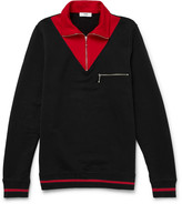 Cmmn Swdn Victor Two-Tone Loopback Cotton-Jersey Half-Zip Sweater