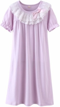 HOYMN Kids Girls' Lace Nightie & Bowknot Sleep Shirts 100% Cotton Sleepwear