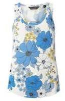 Dorothy Perkins Woblue Floral Viscose Vest- Blue