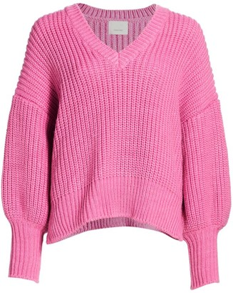 Cinq à Sept Antonella Knit Puff-Sleeve Sweater