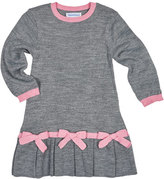 Florence Eiseman Long-Sleeve Pleated Sweaterdress, Gray/Pink, Size 2-6X