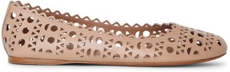 Alaia Beige laser cut leather ballet flat