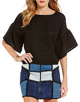 Sugar Lips Sugarlips Crew Neck Bell Sleeve Solid Top