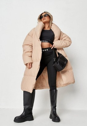 Missguided Cream Square Quilted Puffer Coat