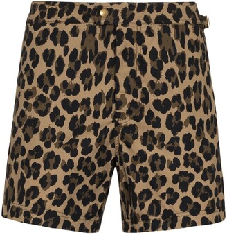 Tom Ford Leopard Print Swim Shorts