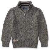Ralph Lauren Cashlike Half-Zip Marbled Cotton Pullover, Multi, Size 2-4