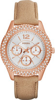 Fossil ES3816 Stella rose gold-toned and leather watch