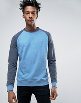 Farah Tanton Raglan Crew Sweat Slim Fit In Blue