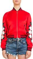 The Kooples Rose-Embroidered Graphic Bomber Jacket