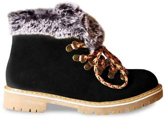 Les Tropéziennes Leather Hiking Boots with Faux Fur Lining