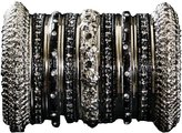 Indian Bridal Collection! Panache' Black Bangles Set in Silver Tone By BangleEmporium. Medium