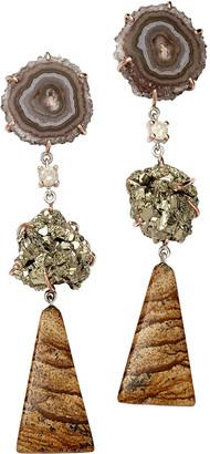 Jan Leslie 18k Bespoke 3-Tier Tribal Luxury Earrings w/ Stalactite, Raw Pyrite, Jasper & Diamonds
