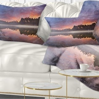 Design Art Designart 'Quiet Lake Mirroring the Sky' Landscape Printed Throw Pillow