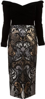Marchesa Off-The-Shoulder Sequin Embellished Dress