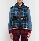 gucci fringed embroidered checked wool scarf herren. Black Bedroom Furniture Sets. Home Design Ideas