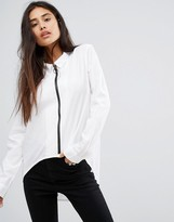 Noisy May Zip Front Shirt with High Low Hem