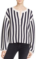 Alexander Wang Striped Waffle Knit Henley Pullover