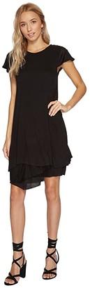 Kensie Sheer Viscose Dress KS8K940S (Black) Women's Dress