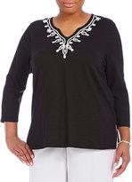 Allison Daley Plus Soutache Embellishment Knit Top