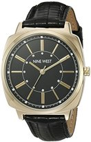 Nine West Women's NW/1728BKBK Swarovski Crystal Accented Gold-Tone and Black Leather Strap Watch