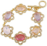 Carolee Gold-Tone Multi-Stone and Pavé Link Bracelet