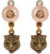 Gucci Pearl-effect embellished tiger earrings