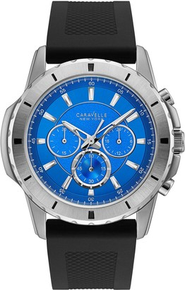 Caravelle by Bulova Men's Silicone Strap Blue Dial Watch